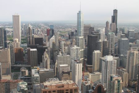 An aerial view of Chicago.