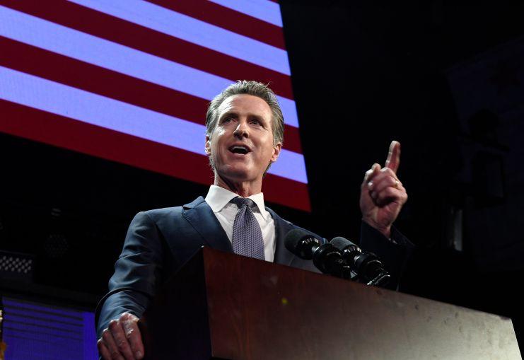 Gavin Newsom speaks during election night event on November 6, 2018 in Los Angeles.