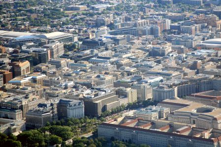Aerial view of downtown Washington D.C.