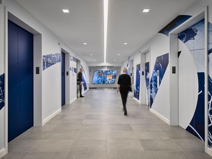 An elevator lobby for SportsNet.