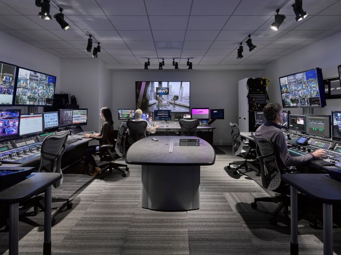 A control room for SportsNet's broadcast studios.