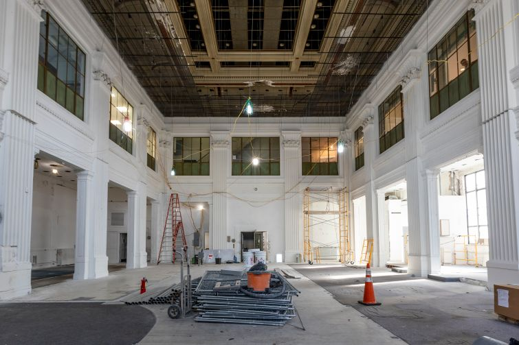 PHOTO: Melissa Goodwin/For Commercial Observer: The interior of the former Dime Savings Bank in Williamsburg will be renovated and revamped the hold a future retail tenant or a lobby for the office space in the new building next door.