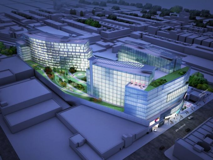 A rendering of the current development proposal for 6208 Eighth Avenue, which is now on the market.