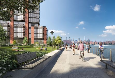 A rendering of waterfront park space at Greenpoint Landing, with 37 Blue Slip in the background.