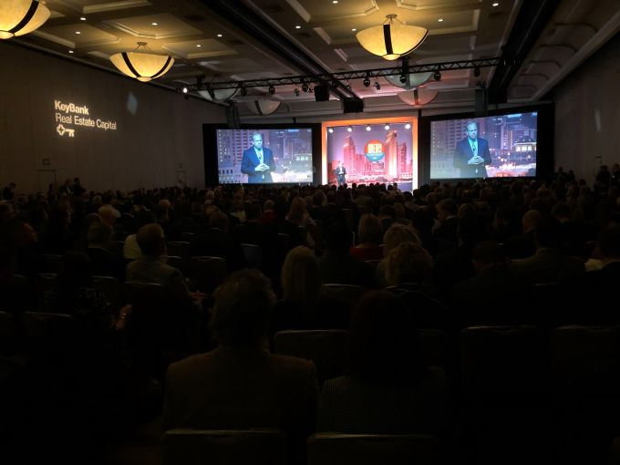 MBA CEO Robert Broeksmit addresses the crowd at the organization's San Diego conference this week.
