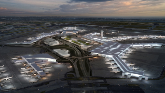 A rendering of the planned renovation at JFK Terminal 8.