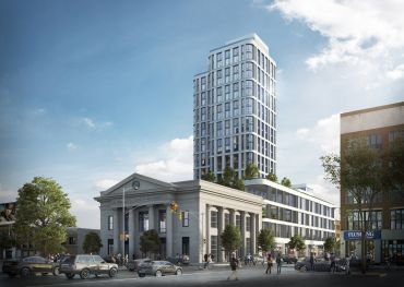 A rendering of the Dime, a new mixed-use development under construction at 263 South 5th Street in Williamsburg.