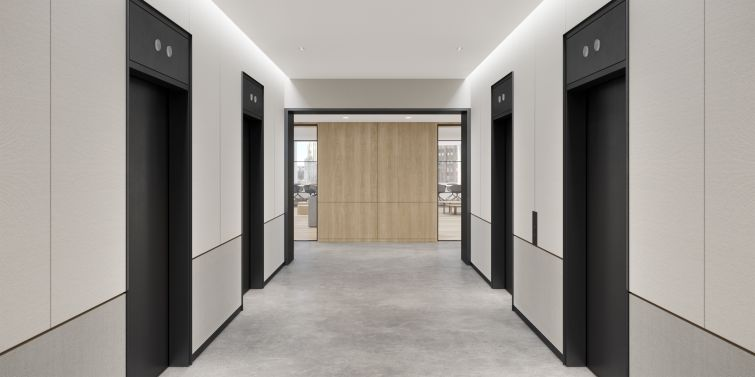 A renovated elevator lobby for the prebuilt suites.