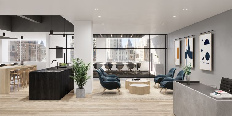 William Kaufman Organization reclaimed a floor at 77 Water Street after Goldman Sachs moved out and renovated it into prebuilt suites.