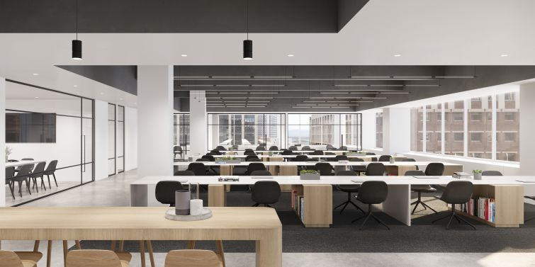 Open work areas feature punched in, exposed ceilings, blonde wood, white walls.