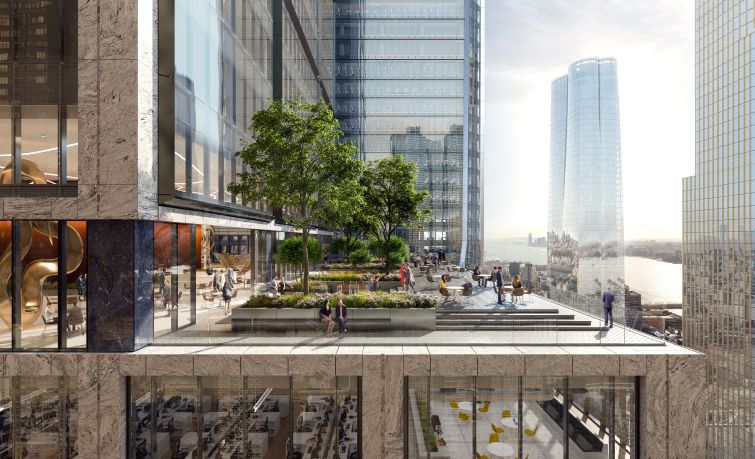 A view from the landscaped terrace on the 51st floor of 50 Hudson Yards.