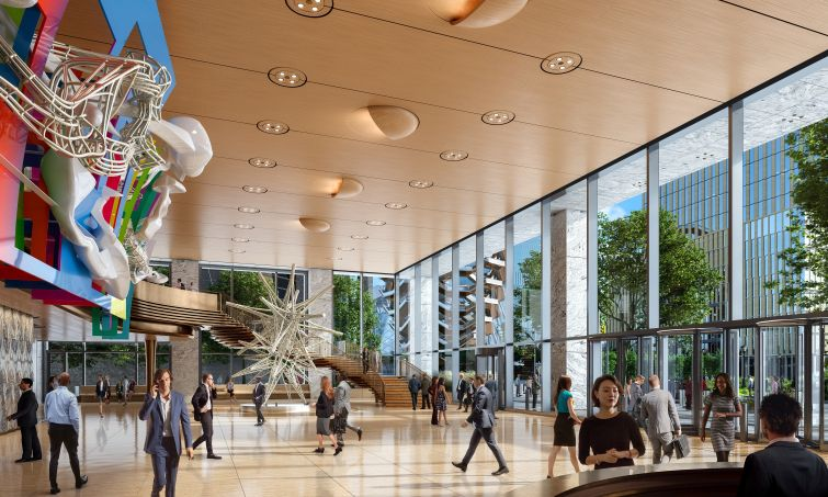 A side view of the 50 Hudson Yards lobby.
