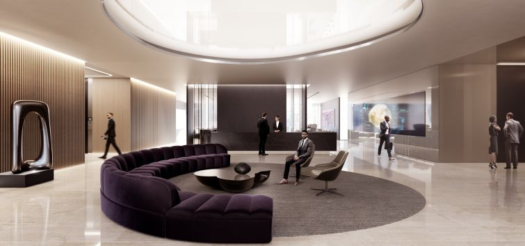 A seating area in the lobby of 50 Hudson Yards.
