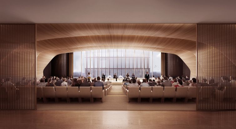 A 300-seat auditorium on the 31st floor will be available to all the tenants in the building.