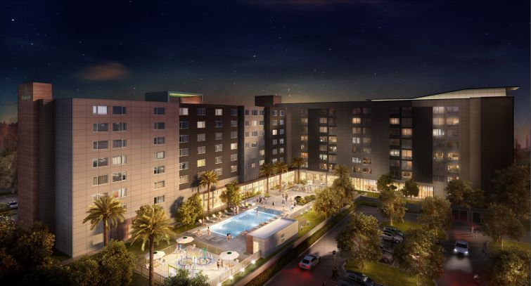 A rendering of the daul-branded project housing Aloft and Element Hotels.