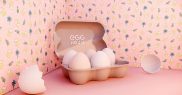 A life-size replica perfect for social media posting at the entrance of Egg House L.A.
