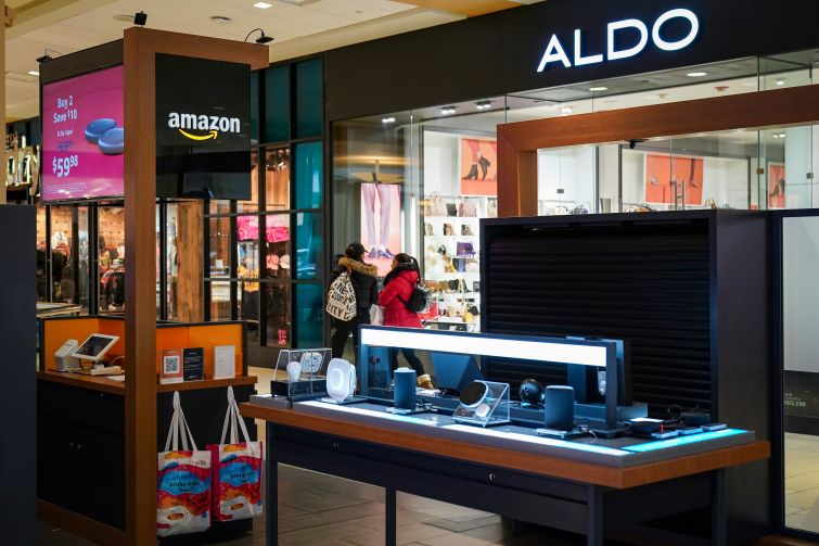 An Amazon pop-up shop inside the Queens Center Mall.