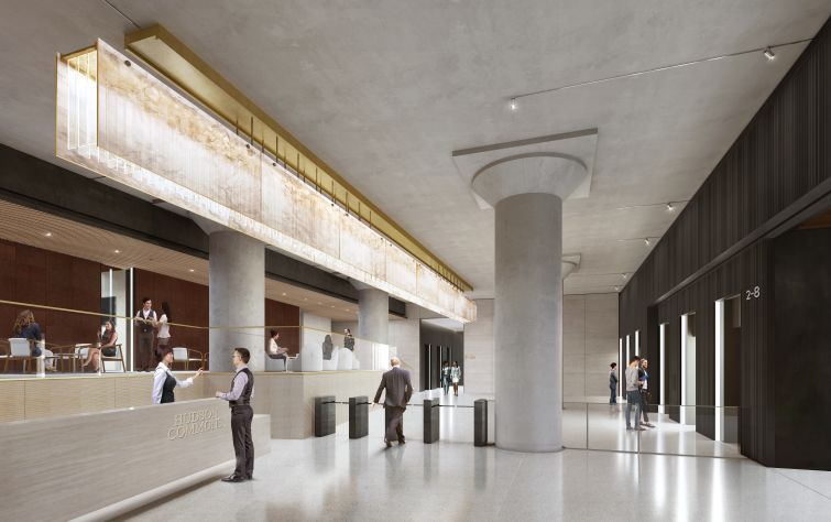 The lobby will feature the property's original mushroom cap columns, polished concrete floors, limestone desk and walls, and an elevated seating area.