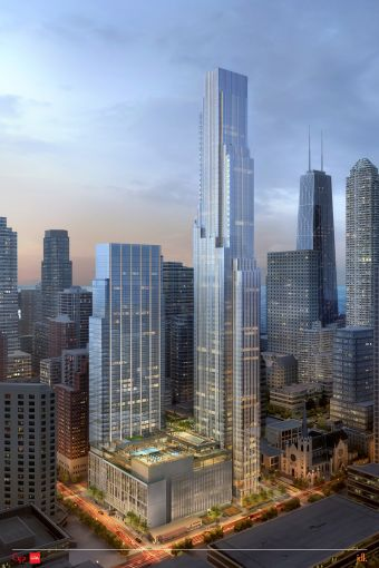 A rendering of One Chicago Square.