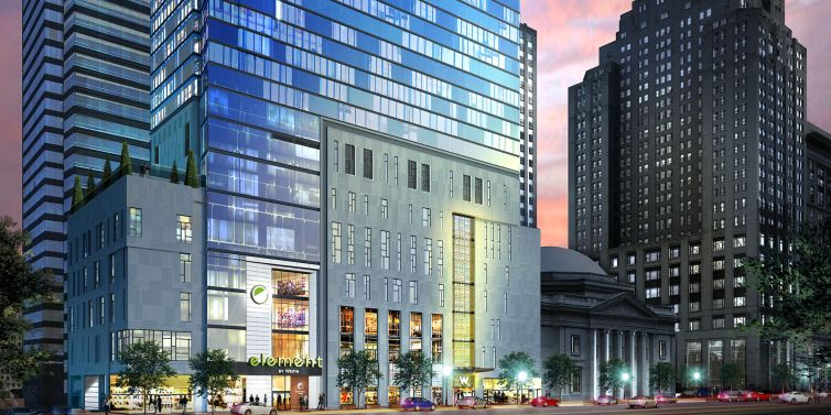 A rendering of the W+Element Hotel.