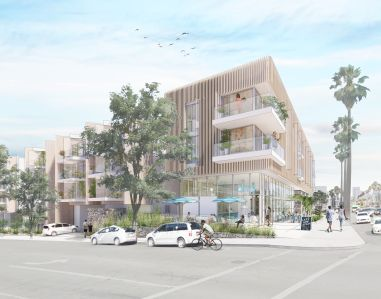 A rendering of the mixed-use development planned at 1828 Ocean Avenue in Santa Monica.