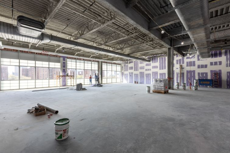 A large west facing office space on the 5th floor of the Wegman's building in Admiral's Row at the Brooklyn Navy Yard.