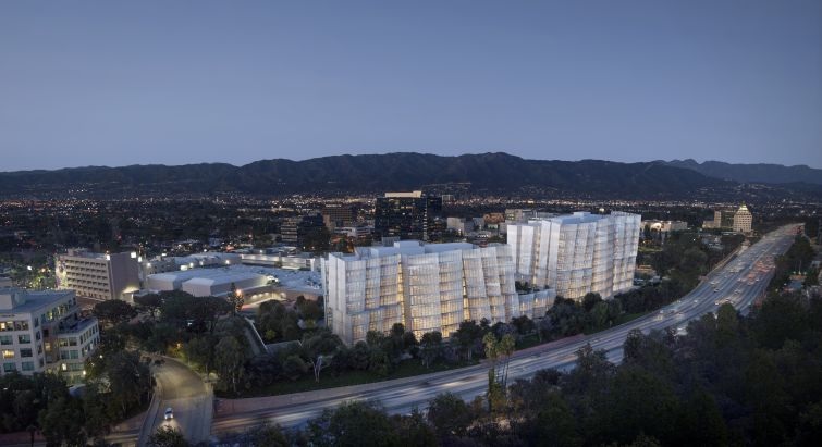 Rendering of Frank Gehry-designed office towers that are part of Warner Bros.' expansion plans in Burbank.