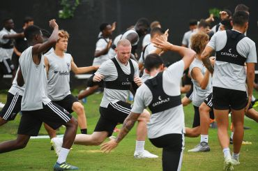 DC United player Wayne Rooney (C) takes part in a training session at the Robert F. Kennedy Memorial Stadium training field in DC on July 6, 2018.