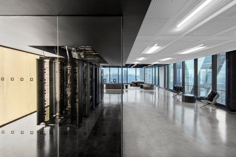 Much of the office was designed around the concept of transparency, which is one of IEX's core principles. IEX chose to put a glassed-in server room in the front of the office to convey that it's both a data company and a financial one.