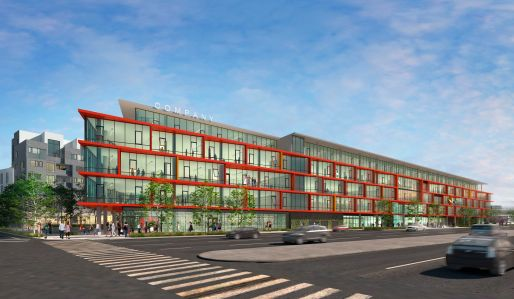 A rendering of Ivy Station's office view from Venice Blvd.