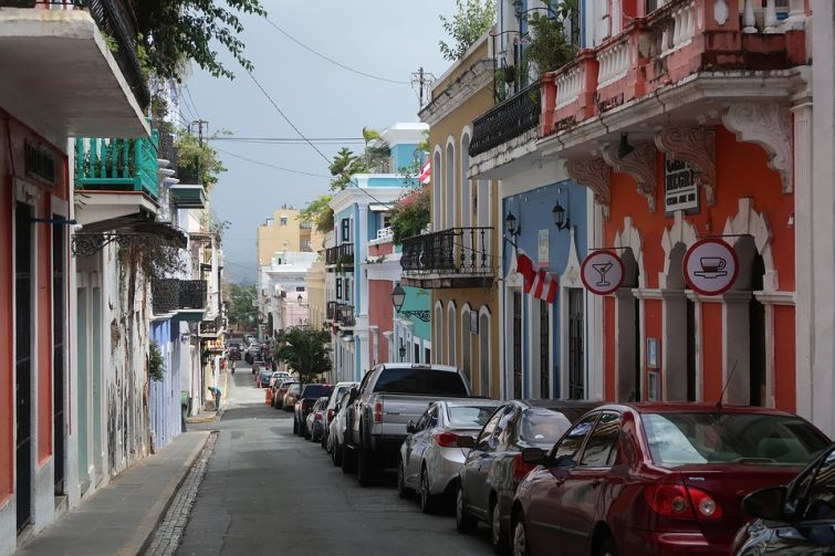 A shot of a street within the neighborhood of Old San Juan.