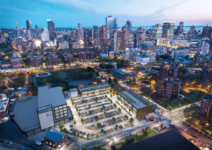An overhead rendering of the planned Admiral's Row complex at the Brooklyn Navy Yard, which will include retail, industrial and office space.