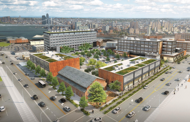 A finished rendering of the Admiral's Row retail and industrial development.