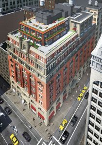 A rendering of the expanded 19th century building at 150 Fifth Avenue.