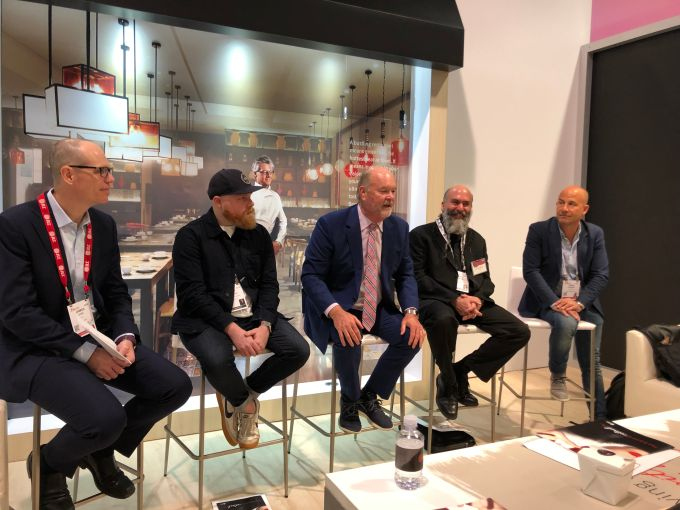 JLL director of retail research James Cook, Neighborhood Goods CEO Matt Alexander, JLL retail CEO Greg Maloney, Thyng CEO Ed LaHood and Candytopia CEO John Goodman.