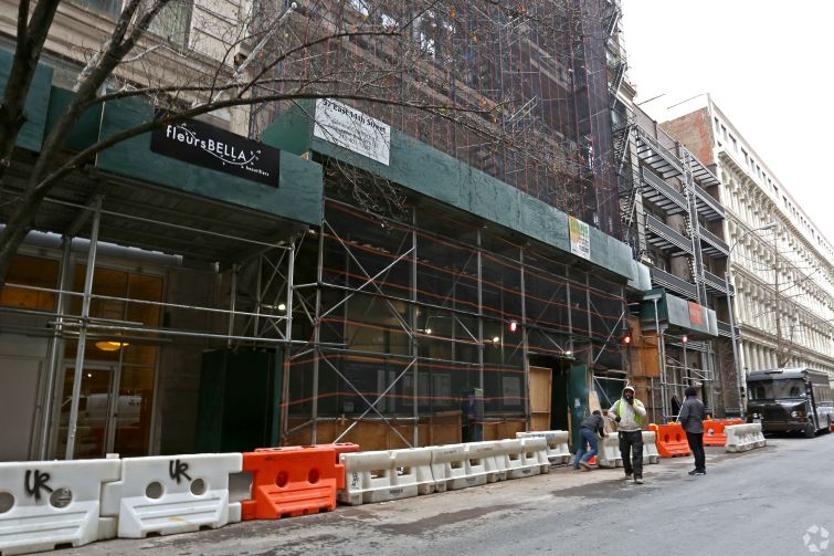 57 East 11th Street, seen during the building's renovation.
