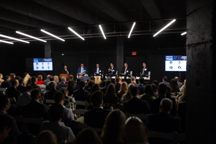 From left: Michael Zetlin, R. Webber Hudson, Michael Goldban, Michael O'Neill, Dave Orowitz and Dan Wenhold at Commercial Observer's third annual retail forum.