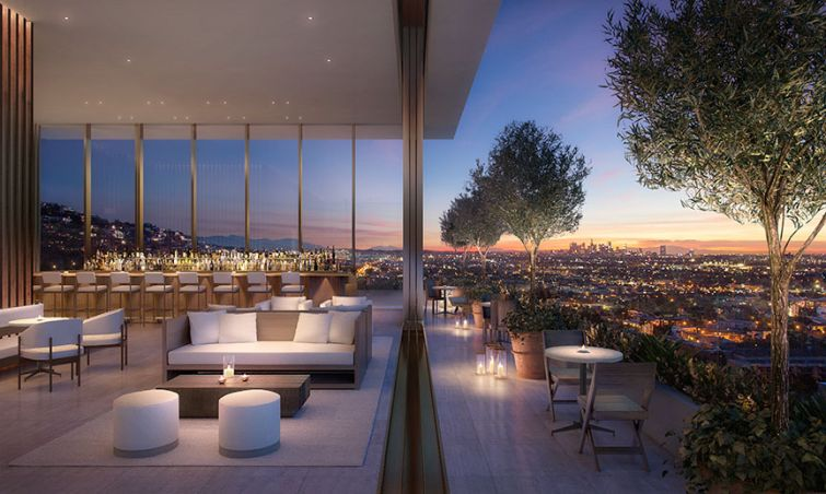 Rendering of the rooftop bar at the West Hollywood EDITION.