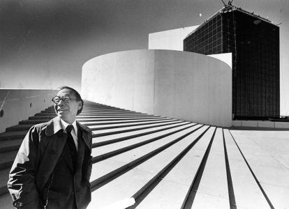 I.M. Pei stands outside the John F. Kennedy Presidential Library in Boston, which he designed, at its opening in 1979.