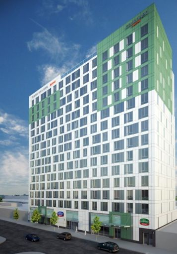 A rendering of the planned hotel in Jamaica, Queens.
