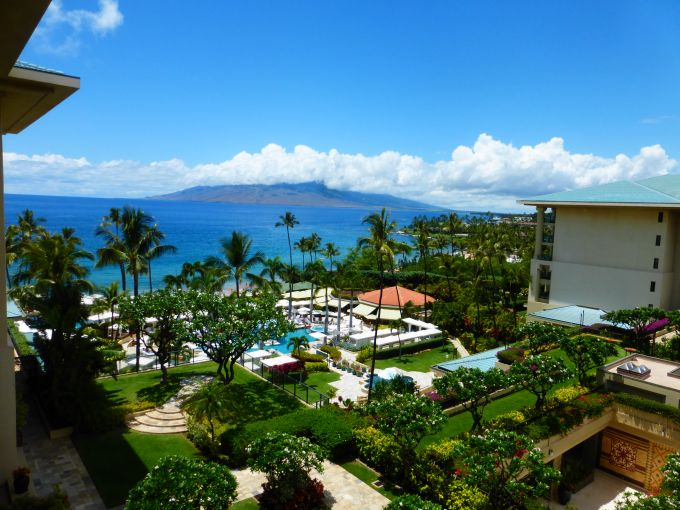 A shot of the courtyard and pool area at Four Seasons Resort Maui at Wailea.