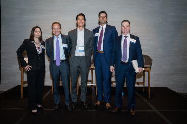 Foreign markets panel. From left to right: Loryn Dunn Arkow, Paul Vanderslice, Warren Min, Corey Hall, Greg Murphy.