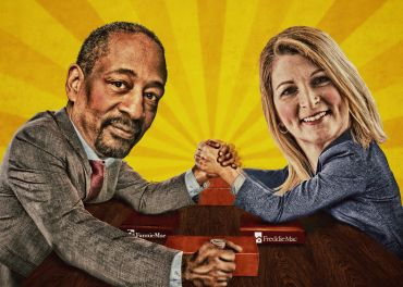 As their federal conservatorship plods on, Fannie Mae and Freddie Mac's multifamily businesses, led by Jeffery Hayward and Debby Jenkins, pictured here, have shown no qualms about growing their market share.