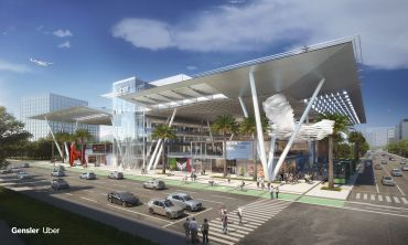 Rendering of Gensler's Skyport concept as designed for Uber's ambitious flying taxi service.