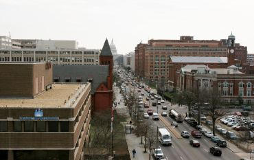 A view from a rooftop on North Capitol Street NE in DC.
