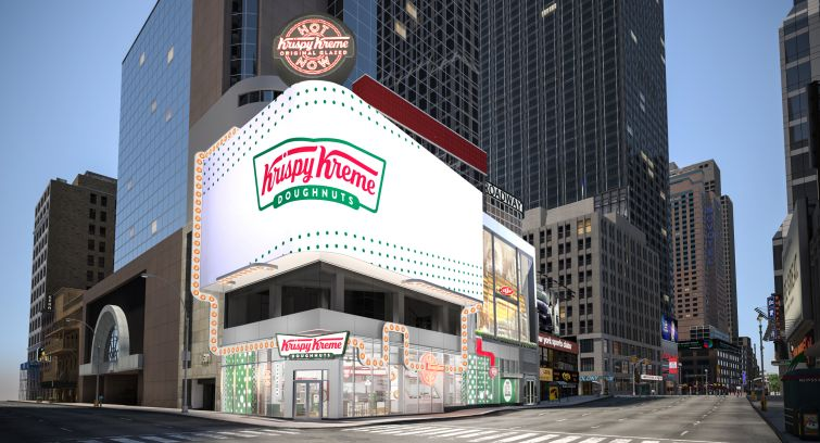A rendering of Krispy Kreme's planned outpost at 1601 Broadway.