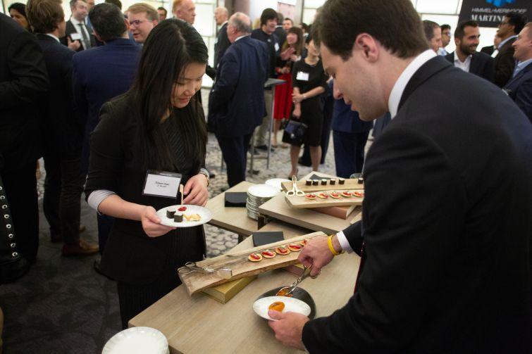 J.P. Morgan's Eileen Gao surveys the food options.