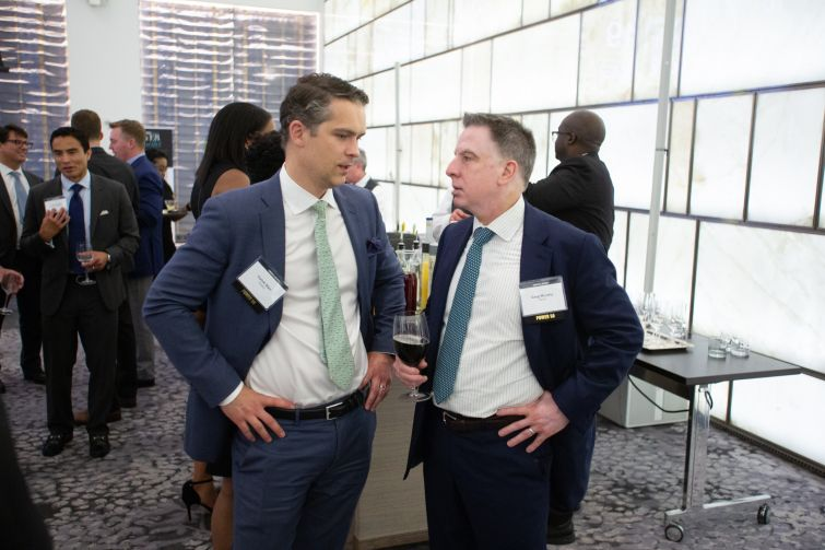 Invesco Real Estate  senior managing director Yorick Starr, left, with Greg Murphy, Natixis' head of real estate finance in the Americas.
