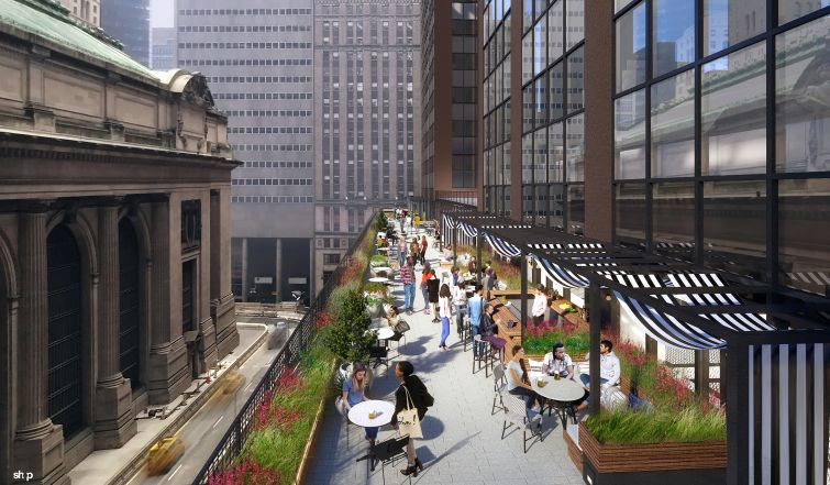 Milstein is putting in a new cafeteria for tenants, which will have a terrace overlooking the Park Avenue viaduct.