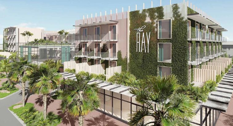A rendering of The Ray hotel in Delray, Fla.